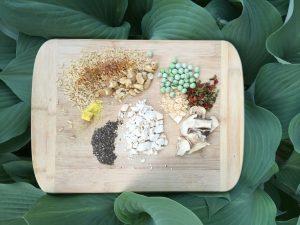 food on wood cutting board