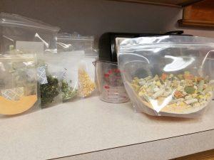 frozen vegetables on kitchen counter
