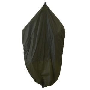 green garment bag folded