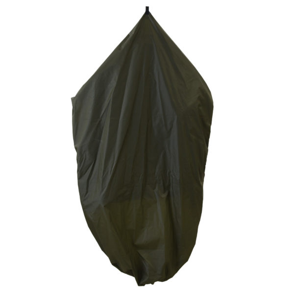 green garment bag folded