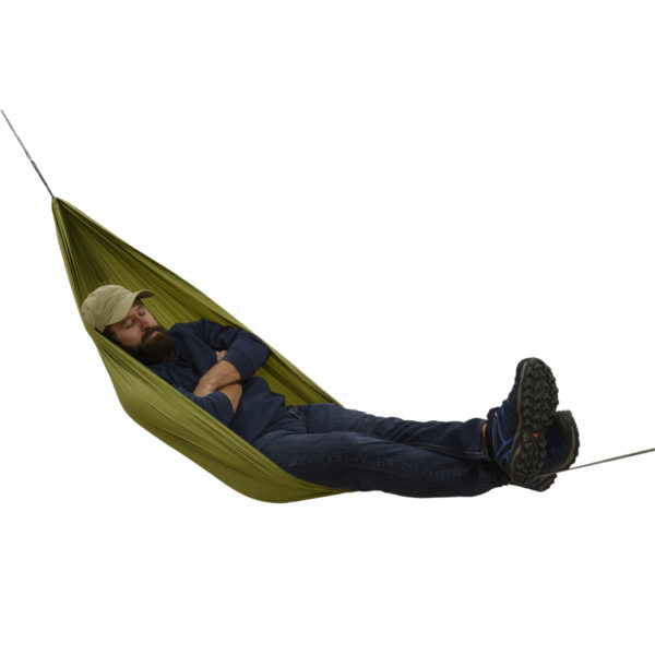 person sitting in netless hammock