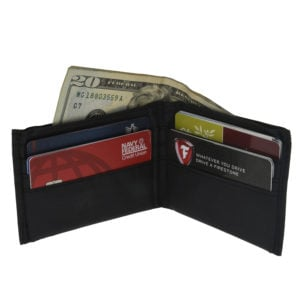 open wallet with cards and cash