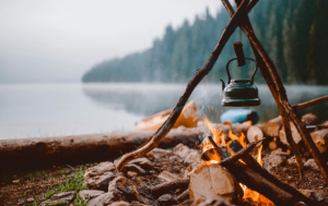 campfire with boiling pot